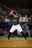 Reading Fightin Phils Jose Antequera (17) bats during an Eastern League game against the Trenton Thunder on August 16, 2019 at FirstEnergy Stadium in Reading, Pennsylvania.  Trenton defeated Reading 7-5.  (Mike Janes/Four Seam Images)