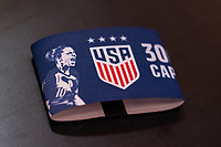 SOLNA, SWEDEN - APRIL 10: The captain's armband of Carli Lloyd #10 of the USWNT sits in the locker room before a game between Sweden and USWNT at Friends Arena on April 10, 2021 in Solna, Sweden.