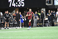 ATLANTA, GA - MARCH 07: ATLANTA, GA - MARCH 07: Atlanta United forward Adam Jahn dribbles the ball during the match against FC Cincinnati, which Atlanta won, 2-1, in front of a crowd of 69,301 at Mercedes-Benz Stadium during a game between FC Cincinnati and Atlanta United FC at Mercedes-Benz Stadium on March 07, 2020 in Atlanta, Georgia.