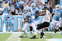 CHAPEL HILL, NC - SEPTEMBER 21: Beau Corrales #15 of the University of North Carolina runs with the ball after making a catch during a game between Appalachian State University and University of North Carolina at Kenan Memorial Stadium on September 21, 2019 in Chapel Hill, North Carolina.