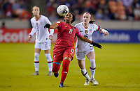 HOUSTON, TX - JANUARY 31: Marta Cox #11 of Panama moves to the ball during a game between Panama and USWNT at BBVA Stadium on January 31, 2020 in Houston, Texas.