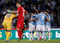 Calcio, Serie A: Lazio vs Frosinone. Roma, stadio Olimpico, 4 ottobre 2015.<br /> Lazio's Filip Djordjevic, second from right, celebrates with teammates after scoring as Frosinone's Federico Dionisi, left, and Nicola Leali react during the Italian Serie A football match between Lazio and Frosinone at Rome's Olympic stadium, 4 October 2015.<br /> UPDATE IMAGES PRESS/Isabella Bonotto