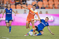 Houston, TX - Sunday Sept. 25, 2016: Carli Lloyd, Jessica Fishlock during a regular season National Women's Soccer League (NWSL) match between the Houston Dash and the Seattle Reign FC at BBVA Compass Stadium.