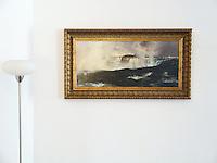 "Thomas Moran: ""Rainbow Over Niagara Falls"" Framed Dimensions: 24.5"" x 44"". Image Dims.16.43"" x 36""  Thomas Moran (1837-1926)was an American painter and printmaker of the Hudson River School in New York."