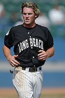 Jeremy Reed of the Long Beach State Dirtbags during a 2002 season NCAA game at Blair Field in Long Beach, California. (Larry Goren/Four Seam Images)