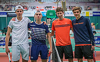 Wateringen, The Netherlands, December 15,  2019, De Rhijenhof , NOJK juniors doubles , Final boys 16 years, Ltr: Teun Rozenberg (NED) with Julius Bult (NED) vs Stijn Paardekooper (NED) and Brian Bozemoj (NED)<br /> Photo: www.tennisimages.com/Henk Koster