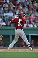 Gene Cone (19) of the South Carolina Gamecocks bats in a game against the Furman Paladins on Wednesday, April 20, 2016, at Fluor Field at the West End in Greenville, South Carolina. (Tom Priddy/Four Seam Images)