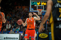 VALENCIA, SPAIN - APRIL 24: Guillem Vives during ENDESA LEAGUE match between Valencia Basket Club and Iberostar Gran Canaria at Fonteta Stadium on April, 2016 in Valencia, Spain