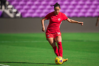 ORLANDO, FL - FEBRUARY 24: Evelyne Viens #9 of the CANWNT kicks the ball before a game between Brazil and Canada at Exploria Stadium on February 24, 2021 in Orlando, Florida.