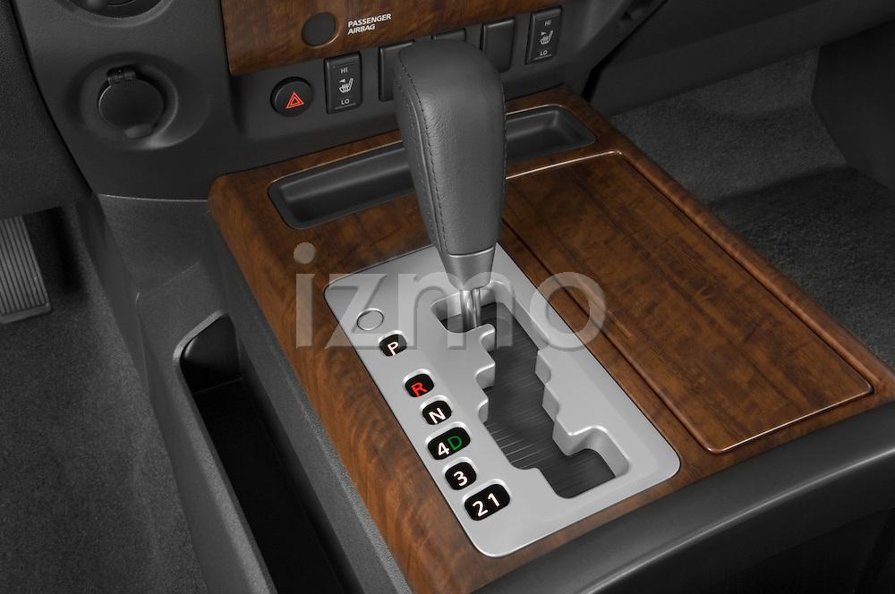 Gear shift detail view of a 2008 Nissan Titan