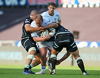 24th April 2021; Liberty Stadium, Swansea, Glamorgan, Wales; Rainbow Cup Rugby, Ospreys versus Cardiff Blues; Rhys Gill of Cardiff Blues is tackled by Nicky Smith and Tom Botha of Ospreys