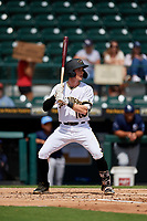 Bradenton Marauders Michael Gretler (10) at bat during a Florida State League game against the Charlotte Stone Crabs on April 10, 2019 at LECOM Park in Bradenton, Florida.  Bradenton defeated Charlotte 2-1.  (Mike Janes/Four Seam Images)