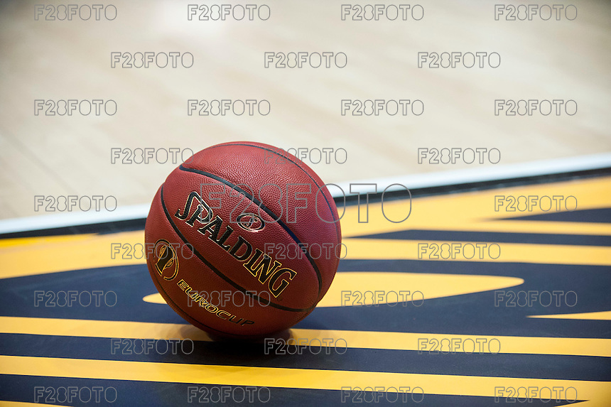 VALENCIA, SPAIN - NOVEMBER 18: EUROCUP official ball during EUROCUP match between Valencia Basket Club and CAI SLUC Nancy at Fonteta Stadium on November 18, 2015 in Valencia, Spain
