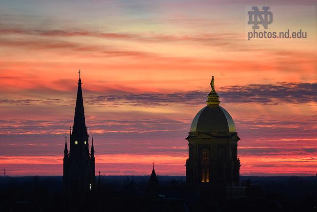 February 3, 2021; Sunset (Photo by Matt Cashore/University of Notre Dame)