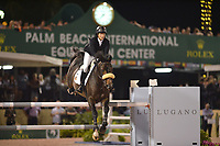 WELLINGTION, FL - FEBRUARY 25: Beezie Madden at the SATURDAY NIGHT LIGHTS: $380,000 Suncast Grand Prix CSI 5. The Winter Equestrian Festival (WEF) is the largest, longest running hunter/jumper equestrian event in the world held at the Palm Beach International Equestrian Center on February 25, 2017  in Wellington, Florida.<br /> <br /> People:  Beezie Madden