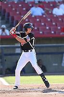 Ryan Cordell (9) of the High Desert Mavericks bats during a game against the San Jose Giants at Mavericks Stadium on June 14, 2015 in Adelanto, California. High Desert defeated San Jose, 7-5. (Larry Goren/Four Seam Images)
