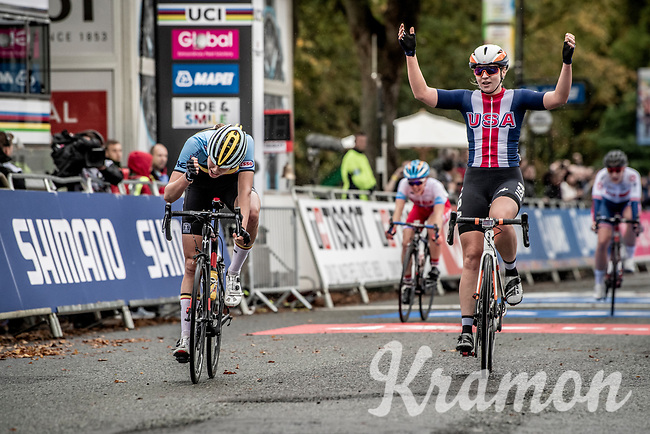 Megan Jastrab (USA) wins the Junior Women road race & become sthe new World Champion beating Julie de Wilde (BEL) in the sprint to the line<br /> <br /> from Doncaster to Harrogate (86km)<br /> 2019 Road World Championships Yorkshire (GBR)<br /> <br /> ©kramon