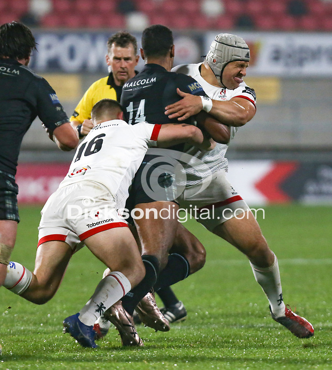 Monday 9th November 2020 | Ulster Rugby vs Glasgow Warriors<br /> <br /> Ratu Tagive is tackled by Adam McBurney and Gareth Milasinovic during the Guinness PRO14 Round 5 match between Ulster Rugby and Glasgow Warriors at Kingspan Stadium in Belfast, Northern Ireland. Photo by John Dickson / Dicksondigital