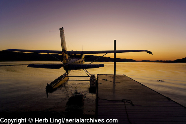 Piper, Cub Crafters Super Cub, PA-18-150, N9901CC, on floats at dawn, docked at the Skylark Shores Resort dock, Clear Lake Seaplane Splash-In, Lakeport, Lake County, California