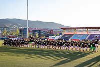 HERRIMAN, UT - JULY 12: Utah Royals FC participate in the National Anthem] during a game between Utah Royals FC and Chicago Red Stars at Zions Bank Stadium on July 12, 2020 in Herriman, Utah.