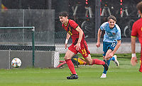 Mathis Sturbaut (15) of Belgium pictured in action with Jonas Tviberg Torsvik (19) of Norway during a soccer game between the national teams Under17 Youth teams of  Norway and Belgium on day 3 in the Qualifying round in group 3 on Tuesday 12 th of October 2020  in Tubize , Belgium . PHOTO SPORTPIX | DAVID CATRY