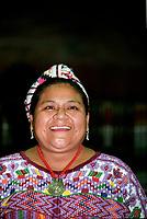 Rigoberta Menchu<br /> , Prix Nobel de la paix, a Montreal, novembre 1992<br /> (date exacte inconnue)<br /> <br /> PHOTO :  Agence Quebec Presse