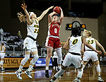 SIOUX FALLS, SD - MARCH 7: Meghan Boyd #0 of the Denver Pioneers shoots over Michelle Gaislerova #22 of the North Dakota State Bison during the Summit League Basketball Tournament at the Sanford Pentagon in Sioux Falls, SD. (Photo by Dave Eggen/Inertia)