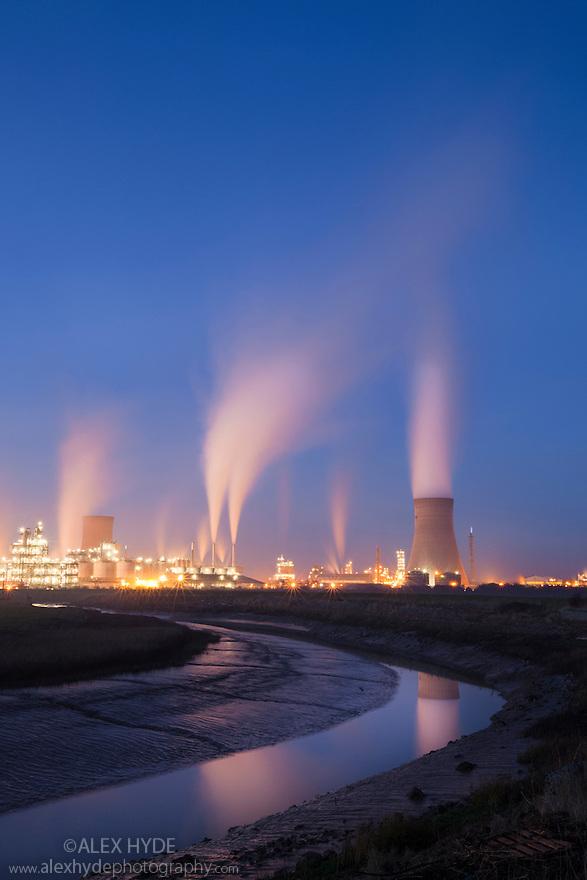 Saltend Chemical Plant at dusk, Kingston upon Hull, East Yorkshire, England, UK.