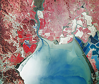 historical infrared aerial photograph of San Pablo Bay, northern San Francisco Bay, 1971