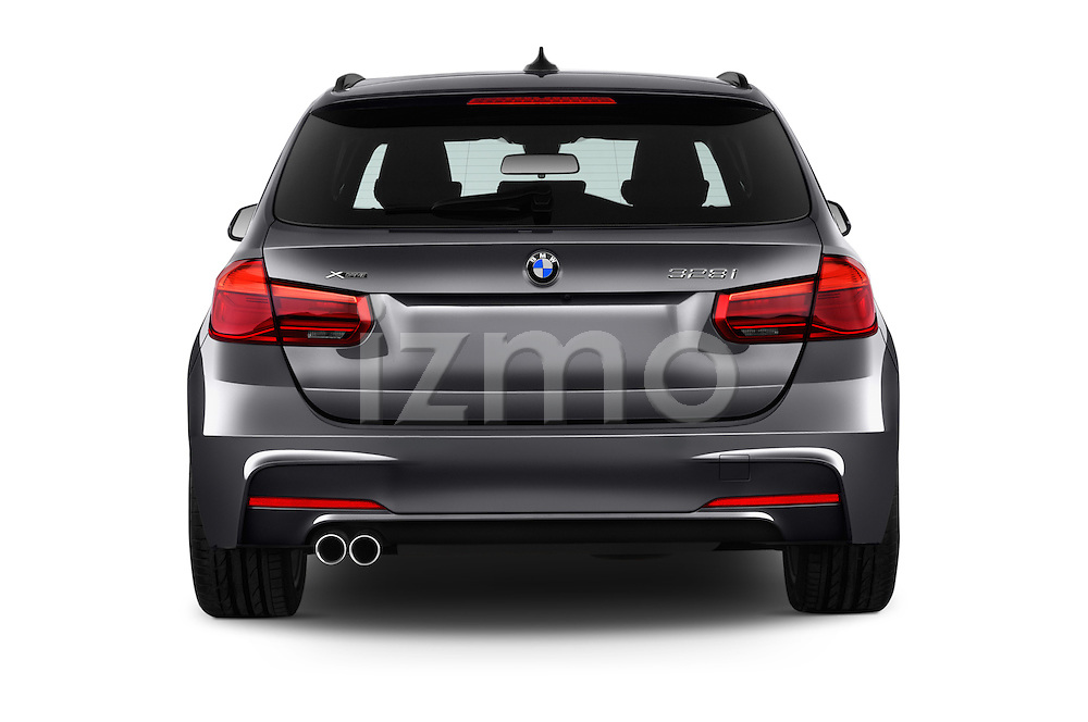 Straight rear view of 2016 BMW 3-Series 328i-xDrive-Sports-Wagon 5 Door Wagon Rear View  stock images