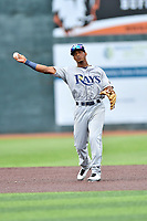 Princeton Rays shortstop Wander Franco (6) throws the ball during a game against the Johnson City Cardinals at TVA Credit Union Ballpark on August 9, 2018 in Johnson City, Tennessee. The Rays defeated the Cardinals 10-2. (Tony Farlow/Four Seam Images)