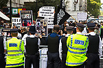 © Joel Goodman - 07973 332324 . 11/09/2011 . London , UK . Islamist organisation Muslims Against Crusades hold a demonstration outside the American Embassy in London on the tenth anniversary of Al-Qaeda's terrorist attack on the World Trade Centre in New York . Photo credit : Joel Goodman