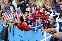 Young USA and Scotland fan wait for the teams to arrive before Match 18 of the Rugby World Cup 2015 between Scotland and USA - 27/09/2015 - Elland Road, Leeds<br /> Mandatory Credit: Rob Munro/Stewart Communications