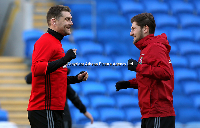 (L-R) Sam Vokes and Ben Davies in action during the Wales Press Conference and Training Session at The Cardiff City Stadium, Wales, UK. Monday 13 November 2017