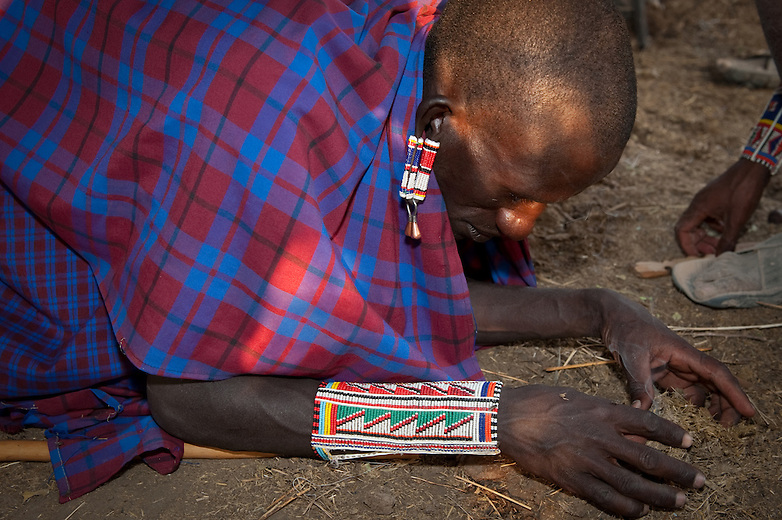 The piercing and stretching of earlobes is common among the Maasai. Various materials have been used to both pierce and stretch the lobes, including thorns for piercing, twigs, bundles of twigs, stones, the cross section of elephant tusks and empty film canisters. Fewer and fewer Maasai, particularly boys, follow this custom.  Intricate beadwork is worn by both men and women to signify special relationships, heirarchy, celebrations and ceremonies.