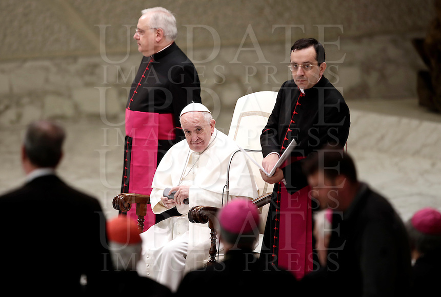 Papa Francesco tiene un' udienza speciale con le vittime del terremoto che ha colpito l'Italia centrale in Aula Paolo VI, Città del Vaticano, 5 gennaio 2017.<br /> Pope Francis leads a special audience with residents of the areas of central Italy hit by earthquakes in Paul Vi Hall at Vatican, on January 5, 2017.<br /> UPDATE IMAGES PRESS/Isabella Bonotto<br /> <br /> STRICTLY ONLY FOR EDITORIAL USE Papa Francesco tiene un'udienza speciale con le vittime del terremoto che ha colpito l'Italia centrale in Aula Paolo VI, Città del Vaticano, 5 gennaio 2017.<br /> Pope Francis leads a special audience with residents of the areas of central Italy hit by earthquakes in Paul Vi Hall at Vatican, on January 5, 2017.<br /> UPDATE IMAGES PRESS/Isabella Bonotto Papa Francesco tiene un'udienza speciale con le vittime del terremoto che ha colpito l'Italia centrale in Aula Paolo VI, Città del Vaticano, 5 gennaio 2017.<br /> Pope Francis leads a special audience with residents of the areas of central Italy hit by earthquakes in Paul Vi Hall at Vatican, on January 5, 2017.<br /> UPDATE IMAGES PRESS/Isabella Bonotto Papa Francesco tiene un'udienza speciale con le vittime del terremoto che ha colpito l'Italia centrale in Aula Paolo VI, Città del Vaticano, 5 gennaio 2017.<br /> Pope Francis leads a special audience with residents of the areas of central Italy hit by earthquakes in Paul Vi Hall at Vatican, on January 5, 2017.<br /> UPDATE IMAGES PRESS/Isabella Bonotto