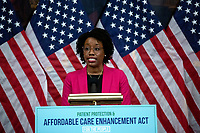 United States Representative Lauren Underwood (Democrat of Illinois) speaks during a news conference on the Affordable Care Enhancement Act at the United States Capitol in Washington D.C., U.S., on Wednesday, June 24, 2020.  Credit: Stefani Reynolds / CNP/AdMedia