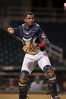 AZL Indians 1 catcher Eric Rodriguez (12) makes a throw to first base during an Arizona League game against the AZL White Sox at Goodyear Ballpark on June 20, 2018 in Goodyear, Arizona. AZL Indians 1 defeated AZL White Sox 8-7. (Zachary Lucy/Four Seam Images)