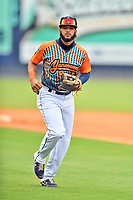 """Asheville Tourists Deury Carrasco (1) during a game against the Aberdeen IronBirds on June 20, 2021 at McCormick Field in Asheville, NC. Tourists players were wearing jerseys for the """"Yacumamas de Asheville"""", as part of Minor League Baseball's """"Copa de la Diversion"""". (Tony Farlow/Four Seam Images)"""