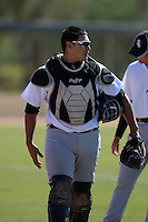 Chicago White Sox catcher Jose Barraza (51) in the bullpen during an Instructional League game against the Los Angeles Dodgers on October 12, 2013 at Camelback Ranch Complex in Glendale, Arizona.  (Mike Janes/Four Seam Images)