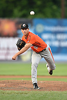 Aberdeen IronBirds pitcher Max Schuh (54) delivers a pitch during a game against the Williamsport Crosscutters on August 4, 2014 at Bowman Field in Williamsport, Pennsylvania.  Aberdeen defeated Williamsport 6-3.  (Mike Janes/Four Seam Images)