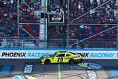#19: Brandon Jones, Joe Gibbs Racing, Toyota Supra Menards/Turtle Wax drives under the checkered flag to win
