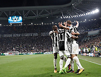 Football Soccer: UEFA Champions League Juventus vs Olympiacos Allianz Stadium. Turin, Italy, September 27, 2017. <br /> Juventus' Gonzalo Higuain (r) celebrates with his teammates after scoring during the Uefa Champions League football soccer match between Juventus and Olympiacos at Allianz Stadium in Turin, September 27, 2017.<br /> UPDATE IMAGES PRESS/Isabella Bonotto