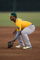 AZL Athletics first baseman Alonzo Medina (12) during an Arizona League game against the AZL Giants Black at the San Francisco Giants Training Complex on June 19, 2018 in Scottsdale, Arizona. AZL Athletics defeated AZL Giants Black 8-3. (Zachary Lucy/Four Seam Images)