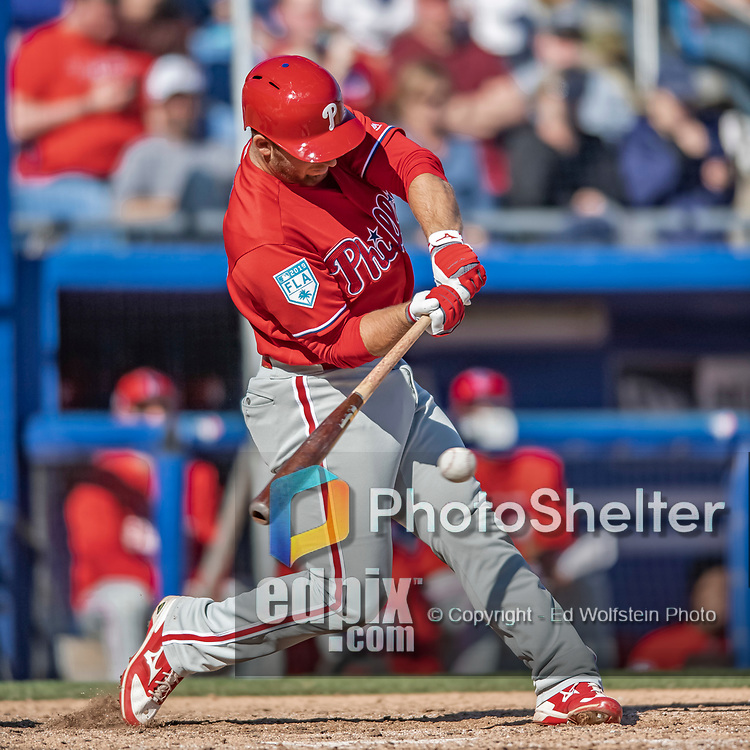 6 March 2019: Philadelphia Phillies top prospect outfielder Austin Listi singles in the 7th inning of a Spring Training game against the Toronto Blue Jays at Dunedin Stadium in Dunedin, Florida. The Blue Jays defeated the Phillies 9-7 in Grapefruit League play. Mandatory Credit: Ed Wolfstein Photo *** RAW (NEF) Image File Available ***