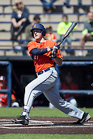 Illinois Fighting Illini first baseman Pat McInerney (27) follows through on his swing against the Michigan Wolverines during the NCAA baseball game on April 8, 2017 at Ray Fisher Stadium in Ann Arbor, Michigan. Michigan defeated Illinois 7-0. (Andrew Woolley/Four Seam Images)