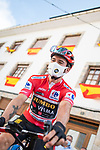 Red Jersey Primoz Roglic (SLO) Jumbo-Visma waits for the start of Stage 19 of La Vuelta d'Espana 2021, running 191.2km from Tapia de Casariego to Monforte de Lemos, Spain. 3rd September 2021.    <br /> Picture: Unipublic/Charly Lopez   Cyclefile<br /> <br /> All photos usage must carry mandatory copyright credit (© Cyclefile   Charly Lopez/Unipublic)
