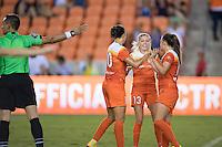 Houston, TX - Sunday Sept. 25, 2016: Carli Lloyd celebrates scoring, Denise O'Sullivan, Andressa Machry during a regular season National Women's Soccer League (NWSL) match between the Houston Dash and the Seattle Reign FC at BBVA Compass Stadium.