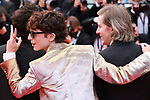 """Cannes Film Festival 2021. 74th edition of the 'Festival International du Film de Cannes' under Covid-19 outbreak on 12/07/2021 in Cannes, France. for the Guests for the screening of the film """"The French Dispatch""""  Timothée Chalamet, Wes Anderson.<br /> © Pierre Teyssot / Maxppp"""