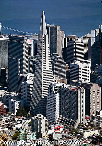 aerial photograph of the Transamerica Pyramid Center, San Francisco, California; the Hilton San Francisco District and the Embarcadero Center also visible